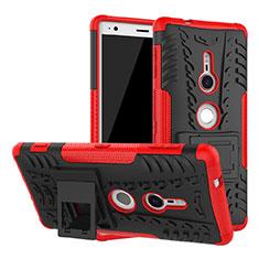 Funda Bumper Silicona y Plastico Mate Carcasa con Soporte para Sony Xperia XZ2 Rojo