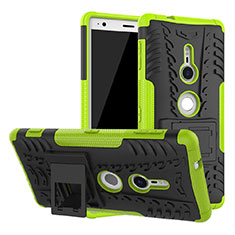 Funda Bumper Silicona y Plastico Mate Carcasa con Soporte para Sony Xperia XZ2 Verde