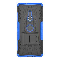 Funda Bumper Silicona y Plastico Mate Carcasa con Soporte para Sony Xperia XZ3 Azul