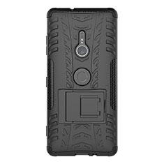 Funda Bumper Silicona y Plastico Mate Carcasa con Soporte para Sony Xperia XZ3 Negro