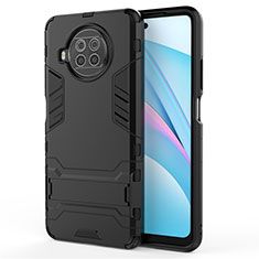 Funda Bumper Silicona y Plastico Mate Carcasa con Soporte para Xiaomi Mi 10i 5G Negro