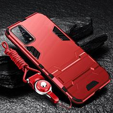 Funda Bumper Silicona y Plastico Mate Carcasa con Soporte para Xiaomi Mi 10T 5G Rojo