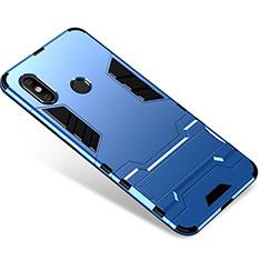 Funda Bumper Silicona y Plastico Mate Carcasa con Soporte para Xiaomi Mi 8 Azul
