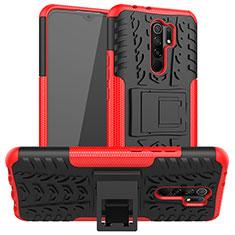 Funda Bumper Silicona y Plastico Mate Carcasa con Soporte para Xiaomi Redmi 9 Prime India Rojo