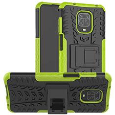 Funda Bumper Silicona y Plastico Mate Carcasa con Soporte para Xiaomi Redmi Note 9 Pro Verde