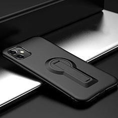 Funda Bumper Silicona y Plastico Mate Carcasa con Soporte R01 para Apple iPhone 11 Negro