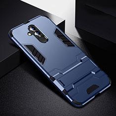 Funda Bumper Silicona y Plastico Mate Carcasa con Soporte R01 para Huawei Mate 20 Lite Azul