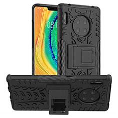 Funda Bumper Silicona y Plastico Mate Carcasa con Soporte R01 para Huawei Mate 30E Pro 5G Negro