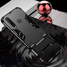 Funda Bumper Silicona y Plastico Mate Carcasa con Soporte R01 para Huawei P30 Lite Negro