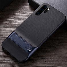 Funda Bumper Silicona y Plastico Mate Carcasa con Soporte R01 para Huawei P30 Pro Azul