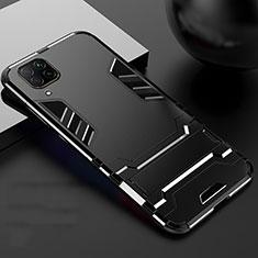 Funda Bumper Silicona y Plastico Mate Carcasa con Soporte R01 para Huawei P40 Lite Negro