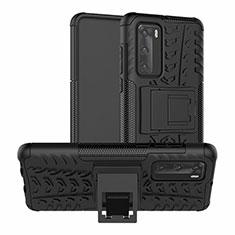 Funda Bumper Silicona y Plastico Mate Carcasa con Soporte R01 para Huawei P40 Negro