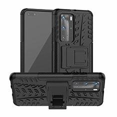 Funda Bumper Silicona y Plastico Mate Carcasa con Soporte R01 para Huawei P40 Pro Negro