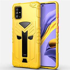 Funda Bumper Silicona y Plastico Mate Carcasa con Soporte R01 para Samsung Galaxy A51 5G Amarillo