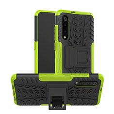 Funda Bumper Silicona y Plastico Mate Carcasa con Soporte R01 para Samsung Galaxy A70 Verde