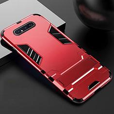 Funda Bumper Silicona y Plastico Mate Carcasa con Soporte R01 para Samsung Galaxy A90 4G Rojo