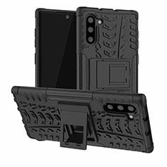 Funda Bumper Silicona y Plastico Mate Carcasa con Soporte R01 para Samsung Galaxy Note 10 5G Negro