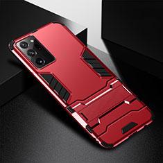 Funda Bumper Silicona y Plastico Mate Carcasa con Soporte R01 para Samsung Galaxy Note 20 Ultra 5G Rojo