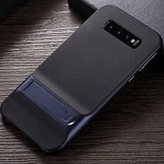 Funda Bumper Silicona y Plastico Mate Carcasa con Soporte R01 para Samsung Galaxy S10 Azul