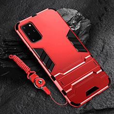Funda Bumper Silicona y Plastico Mate Carcasa con Soporte R01 para Samsung Galaxy S20 Plus 5G Rojo