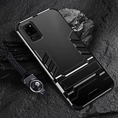 Funda Bumper Silicona y Plastico Mate Carcasa con Soporte R01 para Samsung Galaxy S20 Ultra 5G Negro