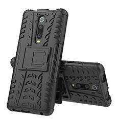Funda Bumper Silicona y Plastico Mate Carcasa con Soporte R01 para Xiaomi Mi 9T Pro Negro
