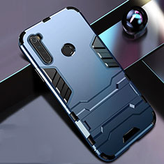 Funda Bumper Silicona y Plastico Mate Carcasa con Soporte R01 para Xiaomi Redmi Note 8 Azul