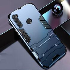Funda Bumper Silicona y Plastico Mate Carcasa con Soporte R01 para Xiaomi Redmi Note 8T Azul