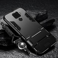Funda Bumper Silicona y Plastico Mate Carcasa con Soporte R01 para Xiaomi Redmi Note 9 Negro