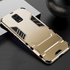 Funda Bumper Silicona y Plastico Mate Carcasa con Soporte R01 para Xiaomi Redmi Note 9 Pro Oro