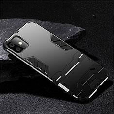 Funda Bumper Silicona y Plastico Mate Carcasa con Soporte R02 para Apple iPhone 11 Negro