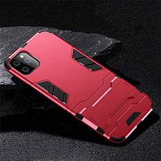 Funda Bumper Silicona y Plastico Mate Carcasa con Soporte R02 para Apple iPhone 11 Pro Max Rojo