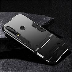Funda Bumper Silicona y Plastico Mate Carcasa con Soporte R02 para Huawei Honor 20 Lite Negro