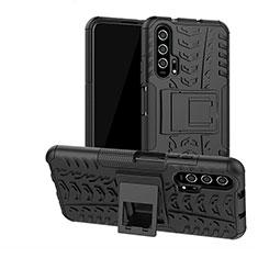 Funda Bumper Silicona y Plastico Mate Carcasa con Soporte R02 para Huawei Honor 20 Pro Negro