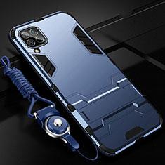 Funda Bumper Silicona y Plastico Mate Carcasa con Soporte R02 para Huawei Nova 7i Azul
