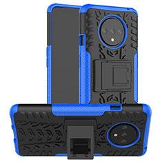 Funda Bumper Silicona y Plastico Mate Carcasa con Soporte R02 para OnePlus 7T Azul