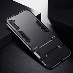 Funda Bumper Silicona y Plastico Mate Carcasa con Soporte R02 para Samsung Galaxy Note 10 5G Negro