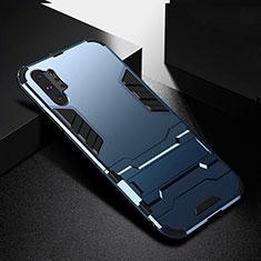 Funda Bumper Silicona y Plastico Mate Carcasa con Soporte R02 para Samsung Galaxy Note 10 Plus 5G Azul