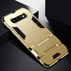 Funda Bumper Silicona y Plastico Mate Carcasa con Soporte R02 para Samsung Galaxy S10 Oro
