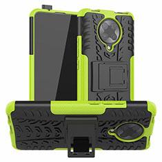 Funda Bumper Silicona y Plastico Mate Carcasa con Soporte R02 para Xiaomi Poco F2 Pro Verde
