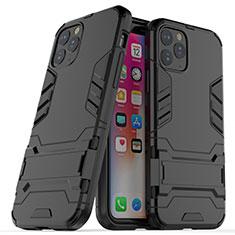 Funda Bumper Silicona y Plastico Mate Carcasa con Soporte R03 para Apple iPhone 11 Pro Negro