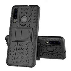 Funda Bumper Silicona y Plastico Mate Carcasa con Soporte R03 para Huawei Honor 20 Lite Negro