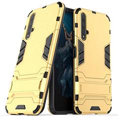 Funda Bumper Silicona y Plastico Mate Carcasa con Soporte R03 para Huawei Honor 20 Oro