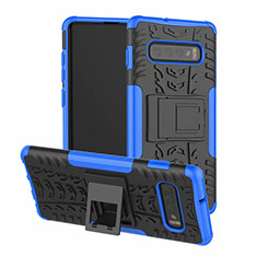 Funda Bumper Silicona y Plastico Mate Carcasa con Soporte R03 para Samsung Galaxy S10 Plus Azul
