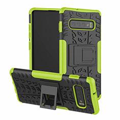 Funda Bumper Silicona y Plastico Mate Carcasa con Soporte R03 para Samsung Galaxy S10 Verde