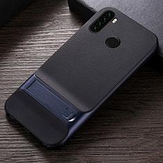 Funda Bumper Silicona y Plastico Mate Carcasa con Soporte R04 para Xiaomi Redmi Note 8 Azul