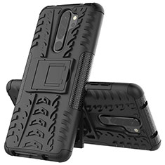 Funda Bumper Silicona y Plastico Mate Carcasa con Soporte R04 para Xiaomi Redmi Note 8 Pro Negro