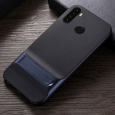 Funda Bumper Silicona y Plastico Mate Carcasa con Soporte R04 para Xiaomi Redmi Note 8T Azul
