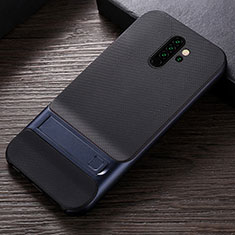Funda Bumper Silicona y Plastico Mate Carcasa con Soporte R06 para Xiaomi Redmi Note 8 Pro Azul