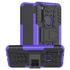 Funda Bumper Silicona y Plastico Mate Carcasa con Soporte R06 para Xiaomi Redmi Note 8T Morado